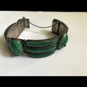 Vintage Mexican Silver Jade Mayan Mask Bracelet